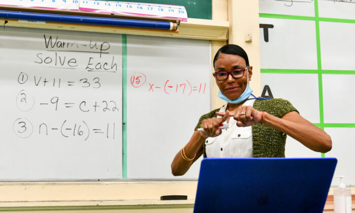 Hollywood High Special Education teacher Shirley Woods conducts class remotely on Sept. 8, 2020, in Los Angeles. (Rodin Eckenroth/Getty Images)