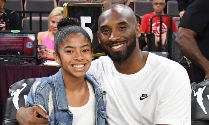 Gianna Bryant and her father, former NBA player Kobe Bryant, attend the WNBA All-Star Game 2019 at the Mandalay Bay Events Center in Las Vegas, Nev., on July 27, 2019. (Ethan Miller/Getty Images)