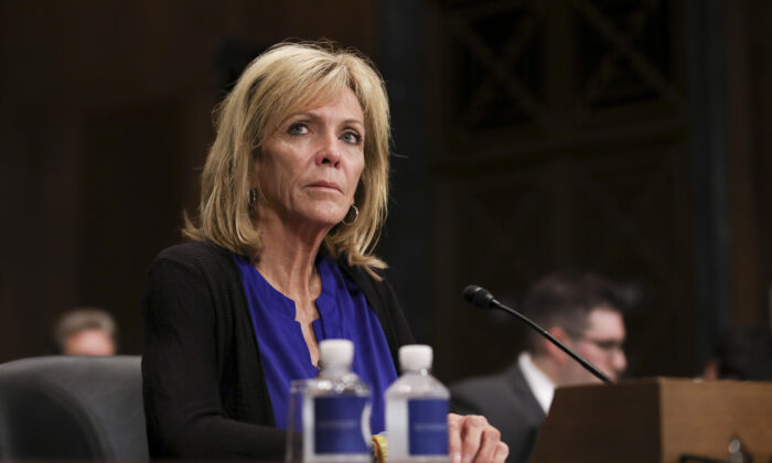Angel mom Mary Ann Mendoza testifies during a Senate Judiciary hearing about sanctuary jurisdictions, on Capitol Hill in Washington on Oct. 22, 2019. (Charlotte Cuthbertson/The Epoch Times)