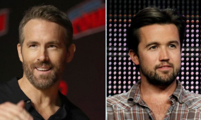 Ryan Reynolds (L) at New York Comic Con. on Oct. 3, 2019, and Rob McElhenney in a panel discussion on Aug. 3, 2010. (Steve Luciano/Matt Sayles/AP Photo)