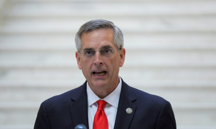 Georgia Secretary of State Brad Raffensperger gives an update on the state of the election and ballot count during a news conference at the State Capitol in Atlanta, Ga., on Nov. 6, 2020. (Dustin Chambers/Reuters)