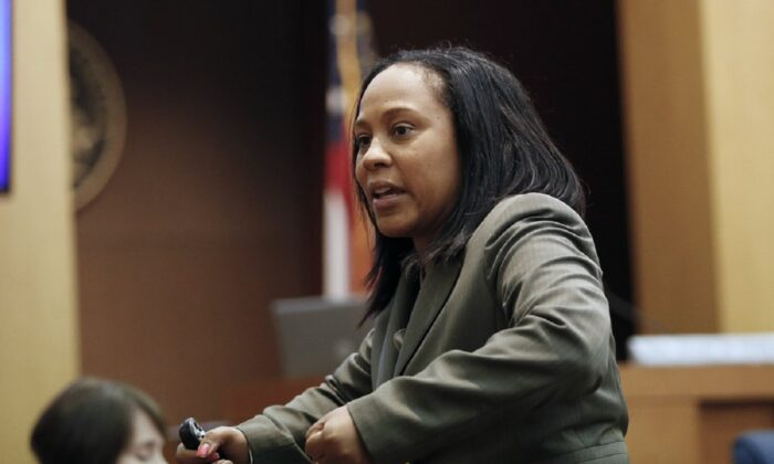 Fulton County Deputy District Attorney Fani Willis makes closing arguments during a trial in Atlanta on Aug. 24, 2016. (John Bazemore/AP Photo)
