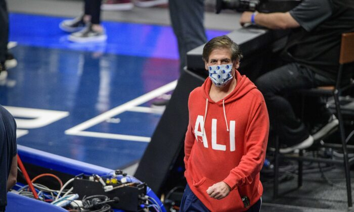 Dallas Mavericks owner Mark Cuban before the game between the Dallas Mavericks and the Golden State Warriors at the American Airlines Center in Dallas, Texas, on Feb. 4, 2021,. (Jerome Miron/USA TODAY Sports)
