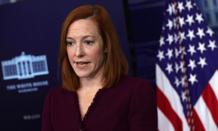 White House press secretary Jen Psaki speaks during a news briefing at the James Brady Press Briefing Room of the White House in Washington, on Feb. 9, 2021. (Alex Wong/Getty Images)