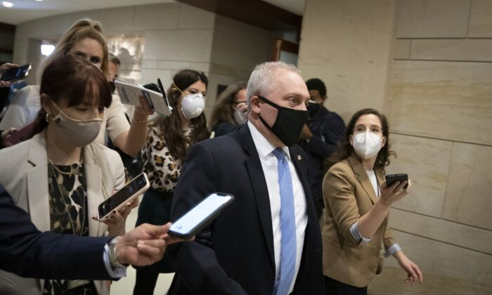 House Minority Whip Steve Scalise (R-La.) walks in Washington on Feb. 3, 2021. (Drew Angerer/Getty Images)