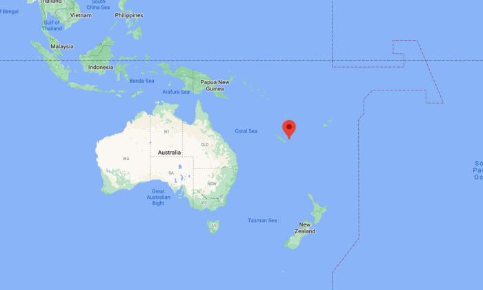 This image taken from Google Maps shows east of Tadine, New Caledonia, where a  7.7 magnitude earthquake struck the South Pacific region, on Feb. 10, 2021. (Google Maps)