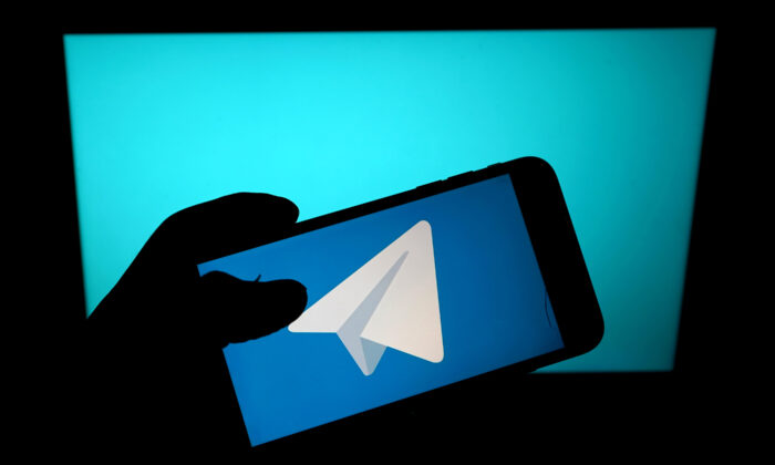 The messaging service Telegram app is seen on a mobile phone in London on Jan. 11, 2021. (Edward Smith/Getty Images)