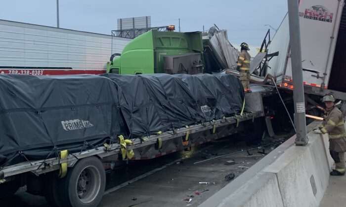 At least five people died and dozens were injured following a 100-car pileup near Fort Worth, Texas, said officials, on Thursday Feb. 11, 2021. (Fort Worth Fire Dept.)