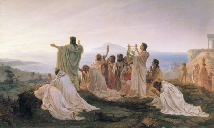 """Pythagoreans Celebrate the Sunrise,"" 1869, by Fyodor Bronnikov. Tretyakov Gallery, Moscow, Russia. (Public Domain)"