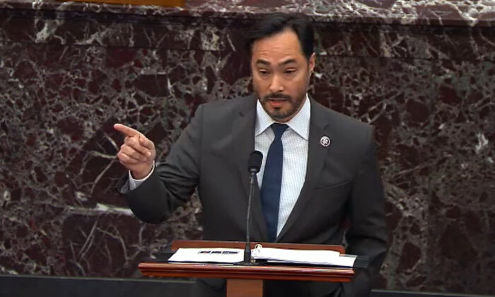 In this screenshot taken from a Congress.gov webcast, Impeachment Manager Rep. Joaquin Castro (D-Texas) speaks on the second day of former President Donald Trump's second impeachment trial at the Capitol in Washington on Feb. 10, 2021. (Congress.gov via Getty Images)