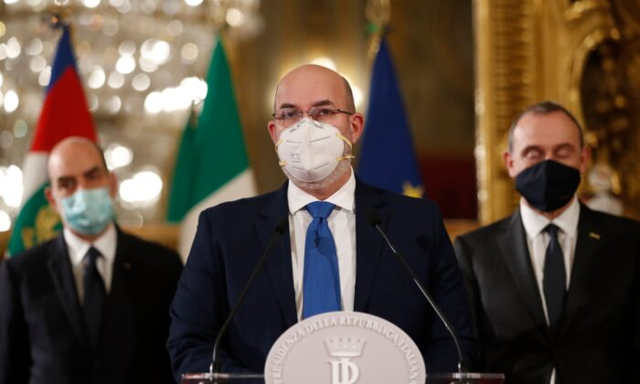 Interim political head of the Five Star Movement (M5S), Senator Vito Crimi addresses the media at the Quirinale palace in Rome on Jan. 29, 2021. (Alessandra Tarantino/POOL/AFP via Getty Images)