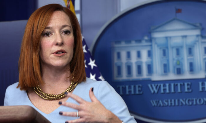 White House Press Secretary Jen Psaki speaks during a news briefing at the James Brady Press Briefing Room of the White House in Washington on Feb. 10, 2021. (Alex Wong/Getty Images)