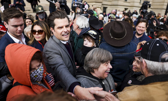 Rep. Matt Gaetz (R-Fla.) greets supporters after speaking to a crowd during a rally in Cheyenne, Wyo., on Jan. 28, 2021. (Michael Ciaglo/Getty Images)