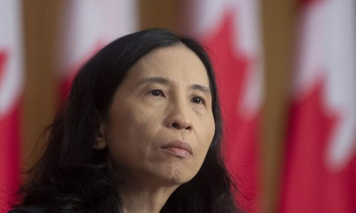 Chief Public Health Officer Theresa Tam listens to a question during a news conference on January 12, 2021 in Ottawa. Canada's top doctors say COVID-19 infections appear to be on a downward trend but worrisome variants are posing an increasing threat to containing the pandemic. (Adrian Wyld/the Canadian Press)