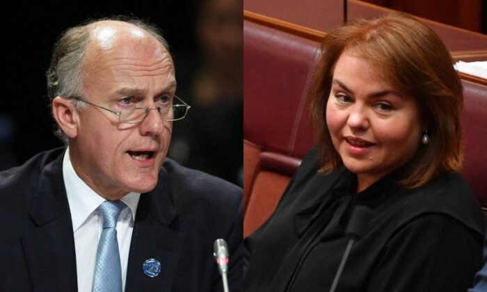 Senator Eric Abetz in Melbourne, Australia, on Sept. 10, 2014; and Labor Senator Kimberley Kitching in the Senate chamber at Parliament House in Canberra, Monday, June 15, 2020. (Graham Denholm/Getty Images) (AAP Image/Mick Tsikas)
