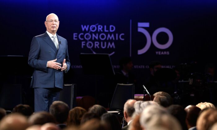World Economic Forum founder and executive chairman Klaus Schwab speaks during a ceremony to mark the 50th anniversary of World Economic Forum in Davos, Switzerland, on Jan. 20, 2020. (Fabrice Coffrini/AFP via Getty Images)
