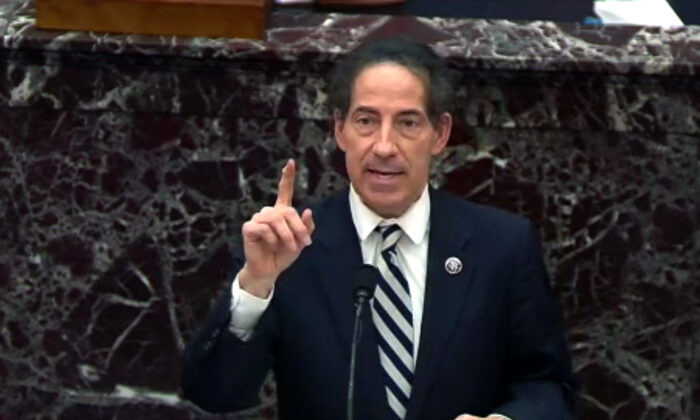 In this handout provided by Congress.gov webcast, lead impeachment manager Rep. Jamie Raskin (D-Md.) speaks on the third day of former President Donald Trump's second impeachment trial at the Capitol in Washington on Feb. 11, 2021. (Congress.gov via Getty Images)