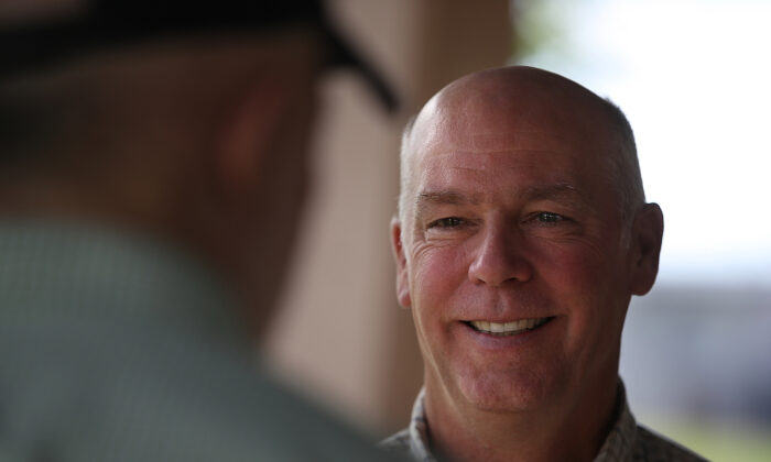 Then-congressional candidate Greg Gianforte at Lions Park in Great Falls, Mont., on May 23, 2017. (Justin Sullivan/Getty Images)