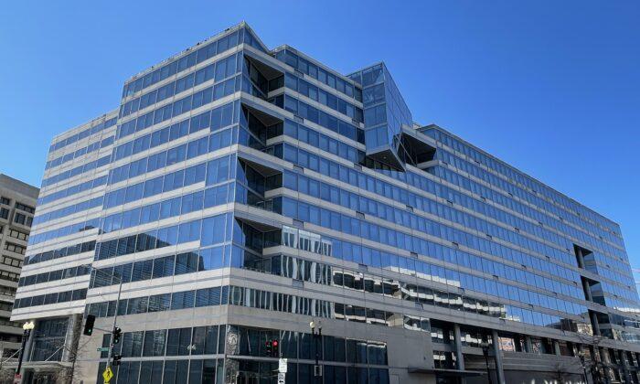 The International Monetary Fund (IMF) building in Washington, on Jan. 28, 2021. (Daniel Slim/AFP via Getty Images)