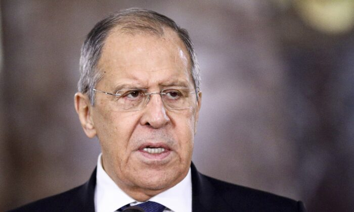 Russian Foreign Minister Sergey Lavrov speaks during a meeting in Moscow, Russia, on Feb. 10, 2021. (Russian Foreign Ministry Press Service via AP)