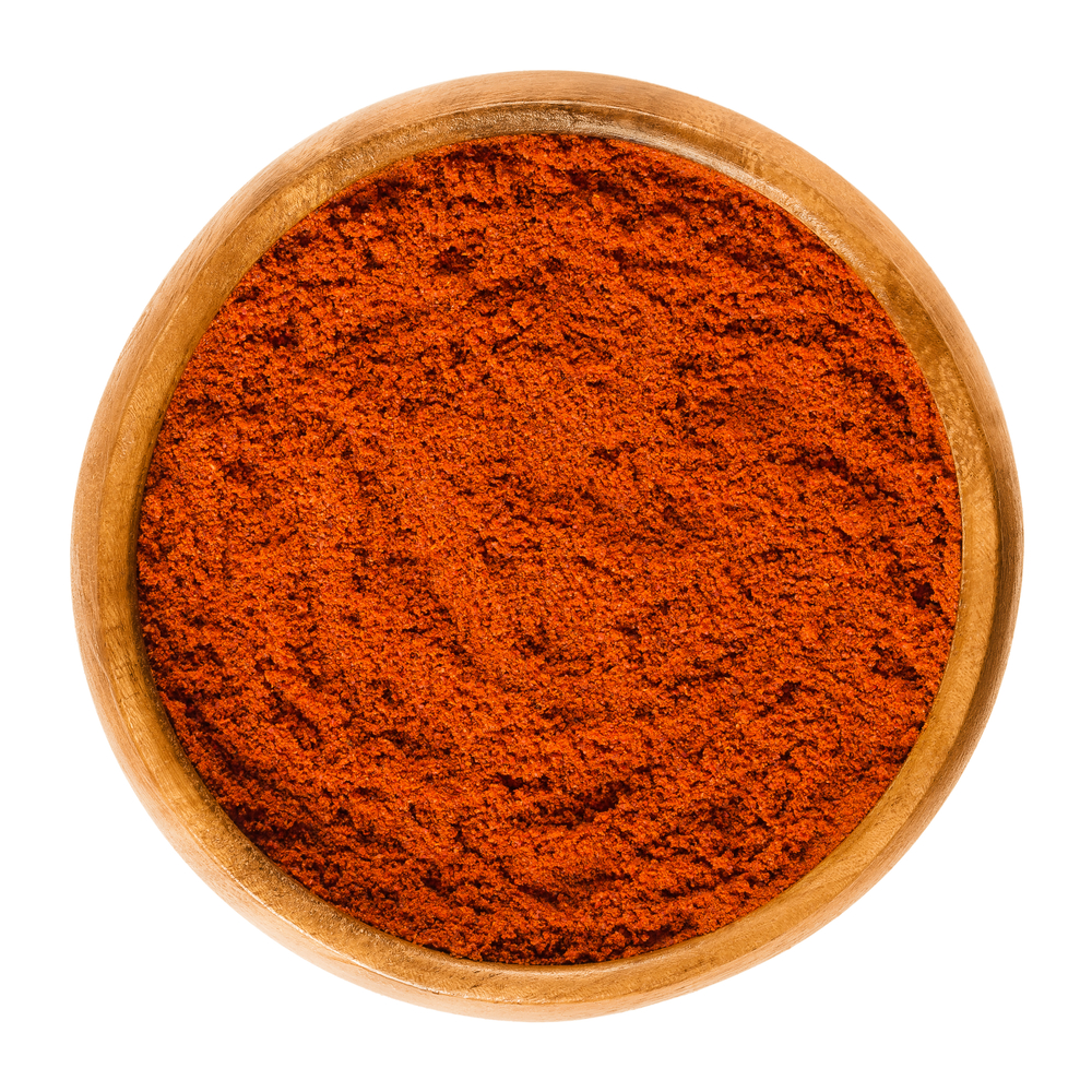 Sweet,Pepper,Red,Paprika,Powder,In,Wooden,Bowl.,Ground,Spice