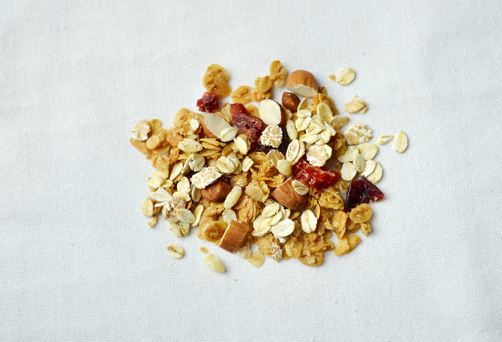 Muesli,,Granola,Healthy,Meal,On,Fabric,Background,,Photo,Split-toned