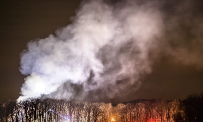 An early evening fire destroyed several buildings at The Hole In The Wall Gang Camp in Ashford, Conn., on Feb. 12, 2021. (Mark Mirko/Hartford Courant via AP)