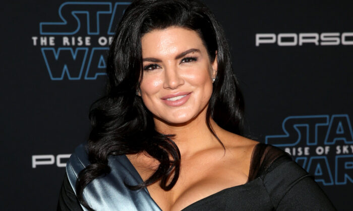 """Gina Carano arrives for the World Premiere of """"Star Wars: The Rise of Skywalker"""", the highly anticipated conclusion of the Skywalker saga in Hollywood, Calif. on Dec. 16, 2019. (Jesse Grant/Getty Images for Disney)"""
