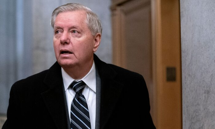 Sen. Lindsey Graham (R-S.C.) arrives at the US Capitol for the fifth day of the second impeachment trial of former US President Donald Trump in Washington, on Feb. 13, 2021. (Stefani Reynolds/AFP via Getty Images)