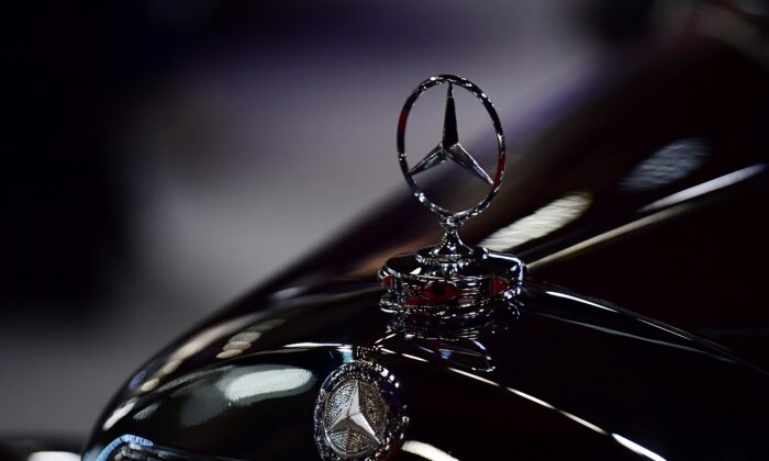 The Mercedes logo on a displayed car during the Retromobile classic car show at Porte de Versailles, in Paris, France, on Feb. 4, 2020. (Martin Bureau/AFP via Getty Images)