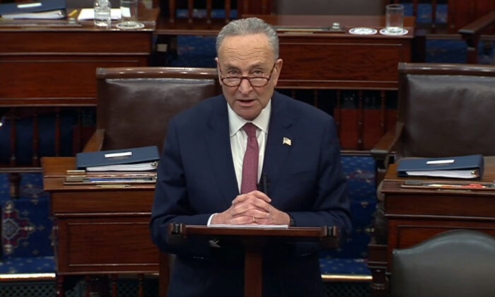 In this image from video, Senate Majority Leader Chuck Schumer (D-N.Y.) speaks after the Senate acquitted former President Donald Trump in his second impeachment trial in the Senate at the U.S. Capitol in Washington on Feb. 13, 2021. (Senate Television via AP)
