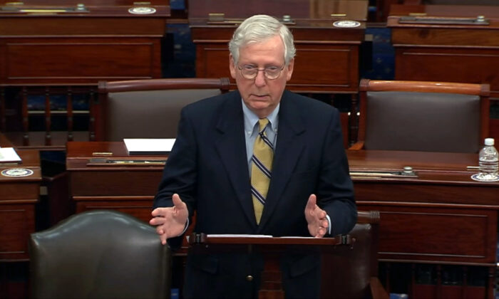 Senate Minority Leader Mitch McConnell (R-Ky.) speaks after the Senate acquitted former President Donald Trump in his second impeachment trial in the Senate at the U.S. Capitol in Washington on Feb. 13, 2021. (Senate Television via AP)