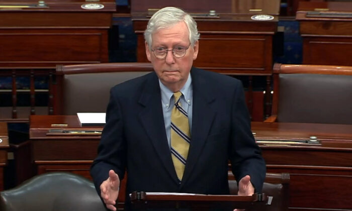 In this image from video, Senate Minority Leader Mitch McConnell (R-Ky.) speaks after the Senate acquitted former President Donald Trump in his second impeachment trial in the Senate at the U.S. Capitol in Washington on Feb. 13, 2021. (Senate Television via AP)