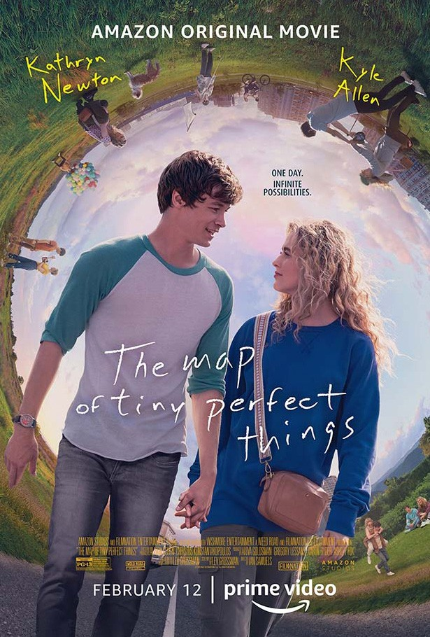 boy and girl hold hands on movie poster for The Map of Tiny Perfect Things