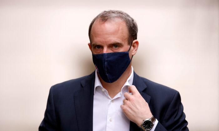 Britain's Foreign Affairs Secretary Dominic Raab in London, Britain, on Feb. 3, 2021. (John Sibley/Reuters)
