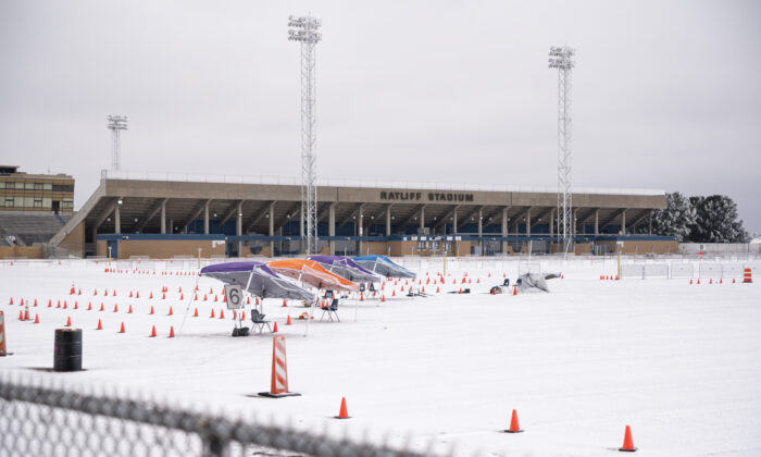 The Ratliff Stadium is seen covered in snow and ice in Midland, Texas, on Feb. 13, 2021. (Eli Hartman/Odessa American via AP)