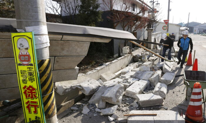 A collapsed wall by a strong earthquake is pictured in Kunimi, Fukushima Prefecture, Japan on Feb. 14, 2021. (Kyodo/via Reuters)