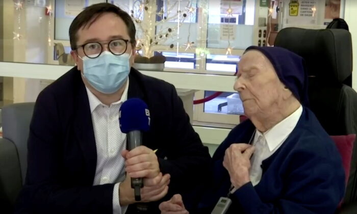 Europe's oldest person, 117-year-old nun Lucile Randon, also known as Sister Andre, who survived the coronavirus disease (COVID-19), is interviewed in Toulon, France, on Feb. 9, 2021. (BFMTV/Reuters TV via REUTERS)