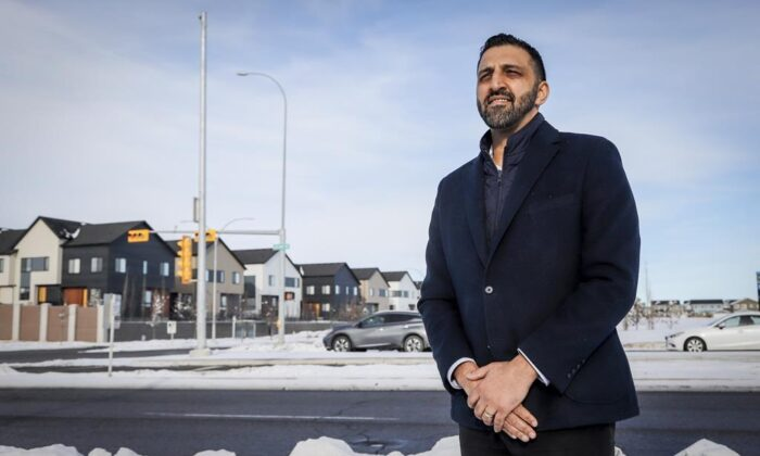 Calgary City councillor George Chahal in the Skyview Ranch community in Calgary, Alta., Jan. 30, 2021. (Jeff McIntosh/The Canadian Press)