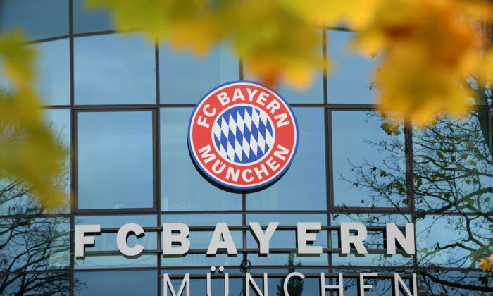 The Logo of FC Bayern Muenchen is seen at Saebener Strasse training ground in Munich, Germany, on Nov. 03, 2019. (Sebastian Widmann/Bongarts/Getty Images)