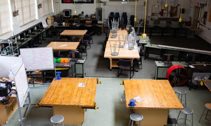 An empty classroom in El Segundo High School in Los Angeles on July 30, 2020. (John Fredricks/The Epoch Times)