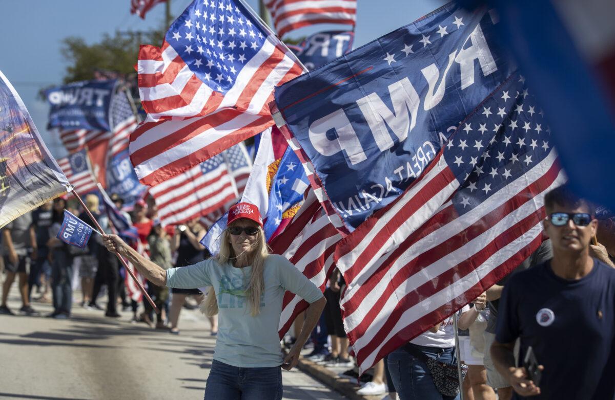 Pro Trump Rally Held Near Trump's Mar-a-Lago Estate On Presidents' Day