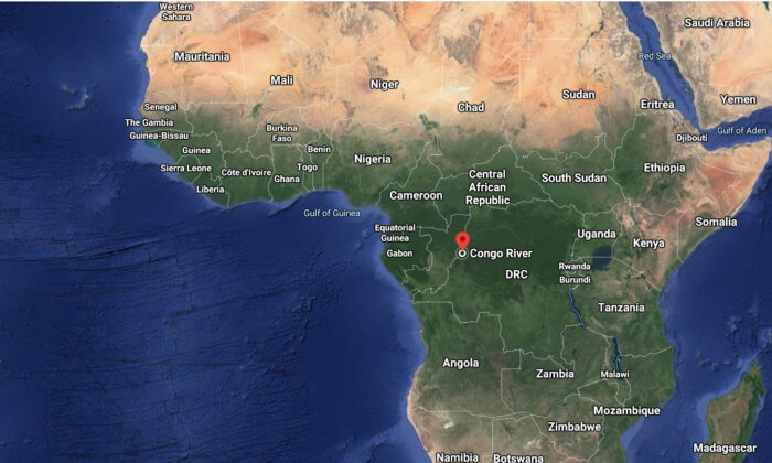 This image taken from Google Maps show Congo river, where the passenger barge crashed, in Republic of Congo. (Google Maps)