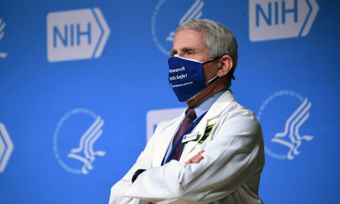 White House chief medical adviser on COVID-19 Dr. Anthony Fauci stands at the National Institutes of Health (NIH) in Bethesda, Md., on Feb. 11, 2021. (Saul Loeb/AFP via Getty Images)