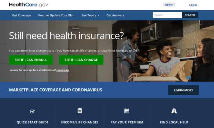 This screen grab from the website shows the main web page for the HealthCare.gov. HealthCare.gov's market for subsidized health plans reopened on Feb. 15, 2021. (Centers for Medicare and Medicaid Services via AP)
