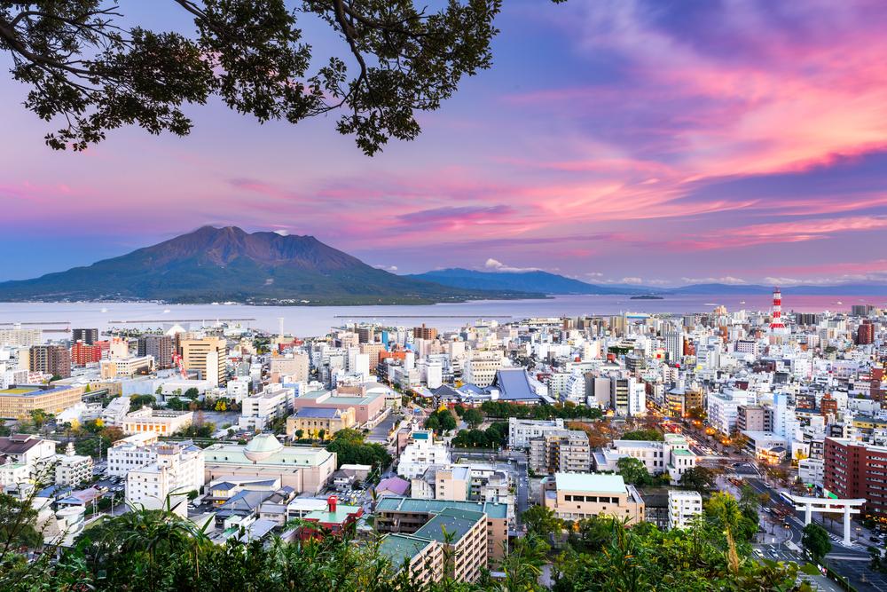 Kagoshima,,Japan,With,Sakurajima,Volcano.