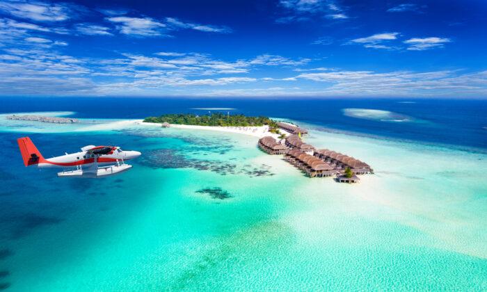 A seaplane approaches the Maldives. (Sven Hansche/Shutterstock)