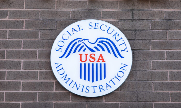 A Social Security Administration logo in Flushing, N.Y., on Feb. 10, 2021. (Chung I Ho/The Epoch Times)