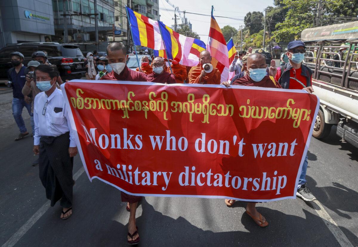 Buddhist monks march
