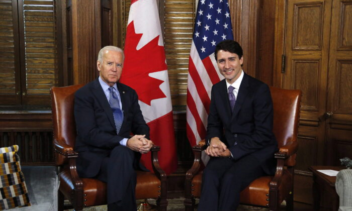 Prime Minister Justin Trudeau meets with then-U.S. Vice-President Joe Biden on Parliament Hill in Ottawa, Canada, on Dec. 9, 2016. (Patrick Doyle/The Canadian Press)